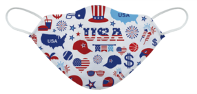 A washable and reusable USA July 4th party pattern printed cloth face mask with comfortable elastic ear bands